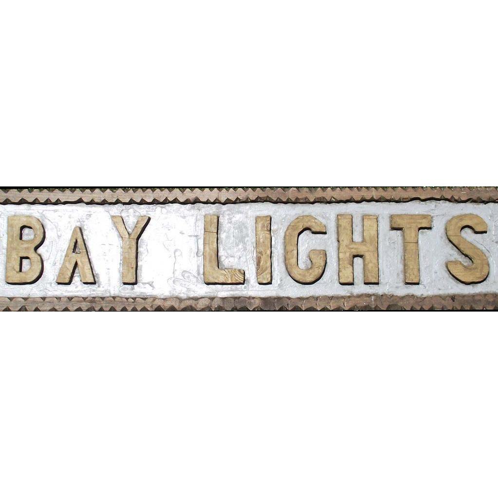 """Vintage Chip Carved Wooden Sign Coast of Maine  """"Bay Lights"""""""