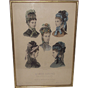 Vintage Victorian Hat Illustrations  La Mode Illustree' Hats of 1860s Era