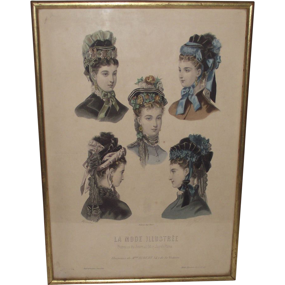 Vintage Victorian Hat Illustrations  La Mode Illustree' Hats of 1860s Era