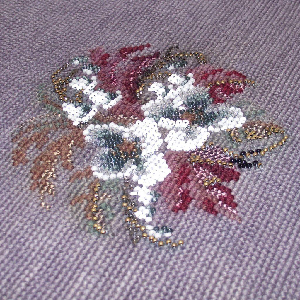 Vintage Antique Beaded Needlepoint Lavender Background Ready to Use