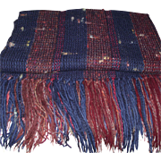 Vintage Hand Woven Wool Blanket with Mohair and Ribbons in Santa Fe New Mexico