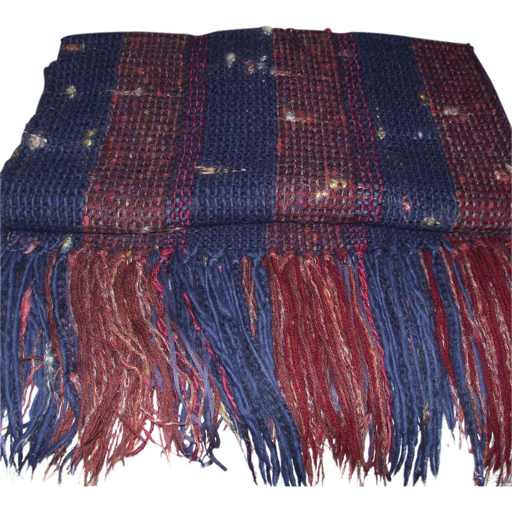 Vintage Hand Woven Wool Blanket with Mohair and Ribbons from  Santa Fe New Mexico