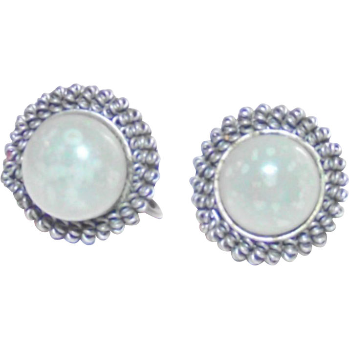 Vintage Jade Nephrite Art Deco Chinese Maio Silver Earrings