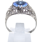 Vintage Filigree Ring Art Deco Sterling Silver with Ceylon Sapphire Paste Stone