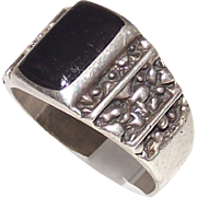Vintage Mens Ring Sterling and Onyx size 12
