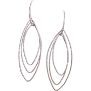 Italian Sterling Marquise Shape Wire Dangle Earrings