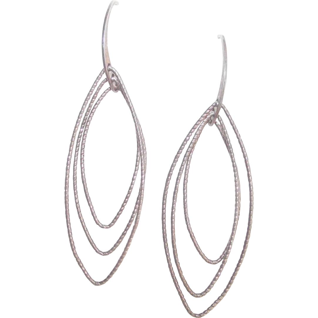 italian sterling marquise shape wire dangle earrings from