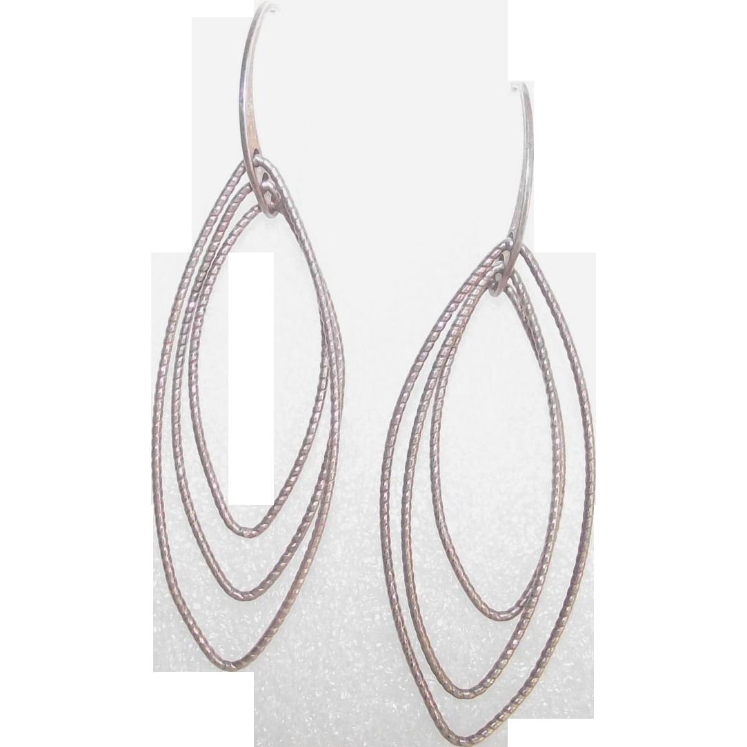 Italian Sterling Marquise Shape Wire Dangle Earrings