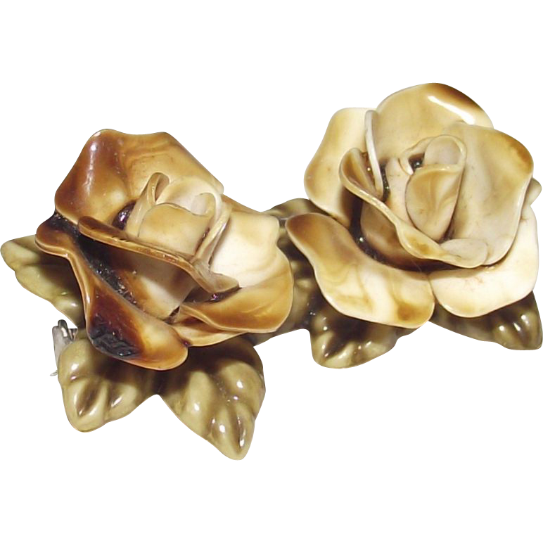 Vintage Yellow Roses Bone China Brooch 1950s