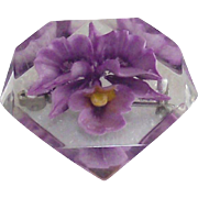 Vintage Purple Orchid Flower Lucite Brooch