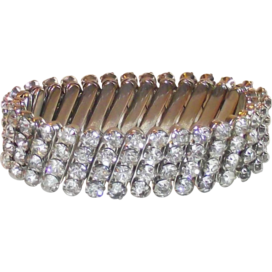 Four Row Clear Rhinestone Expandable Bracelet