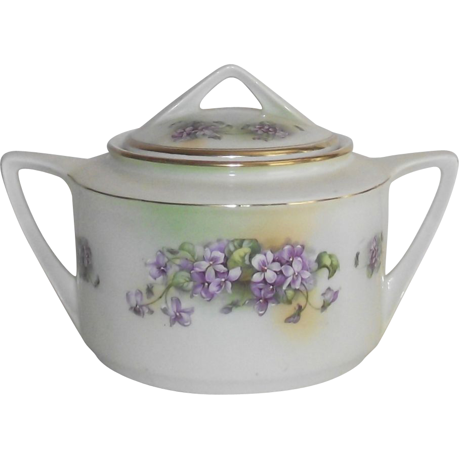 Vintage Violets Biscuit Jar German Hand Painted  Art Deco