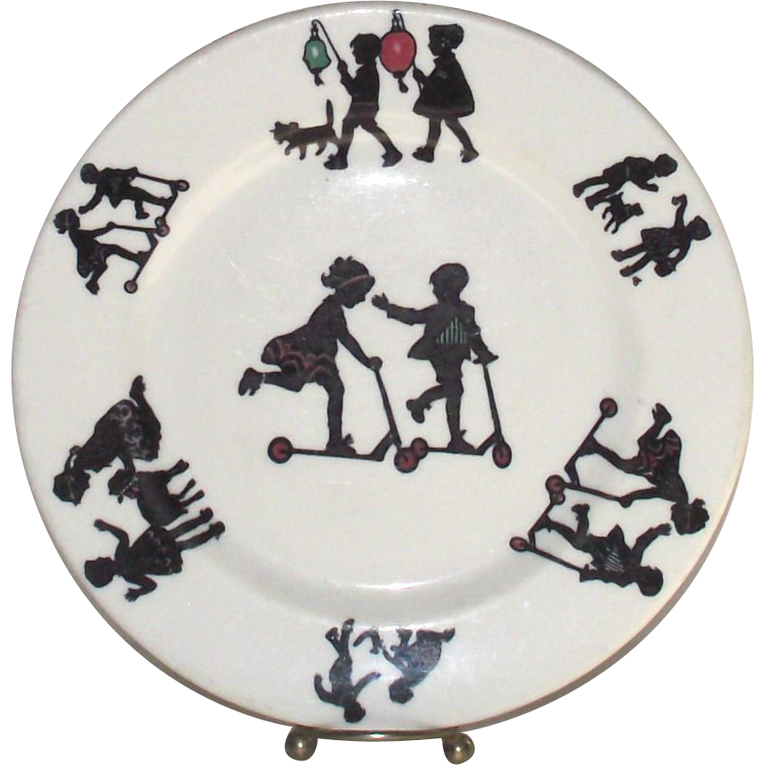 Vintage Child's Dinner Plate Children at Play in Silhouette Restaurant Style by Lamberton