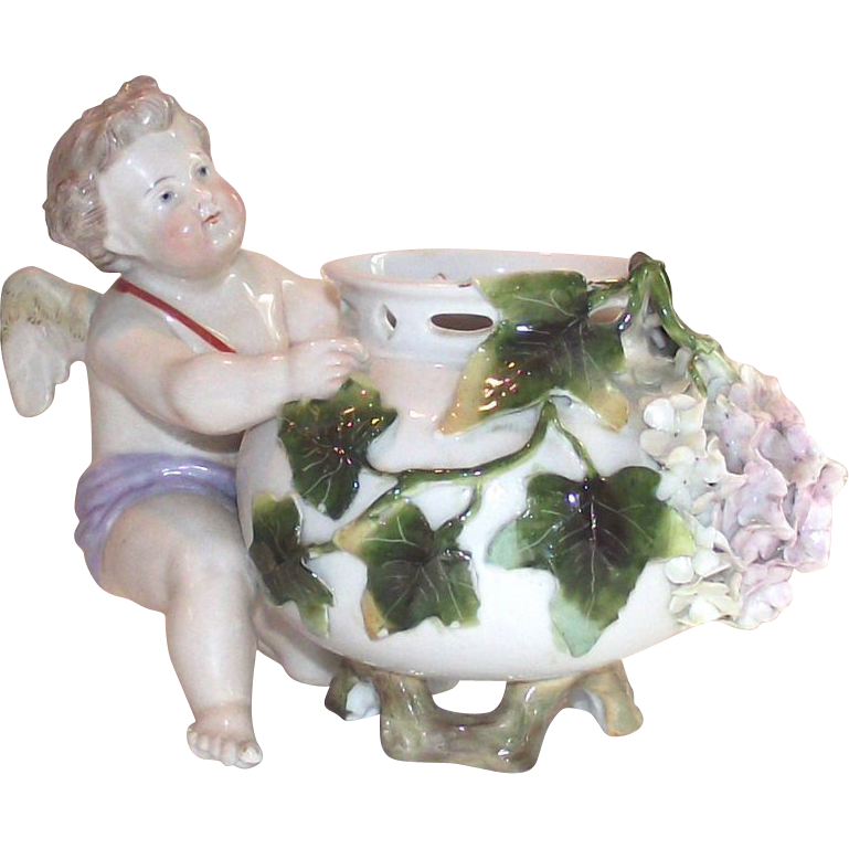 Victorian German Porcelain Cherub Rose Bowl 19th Century