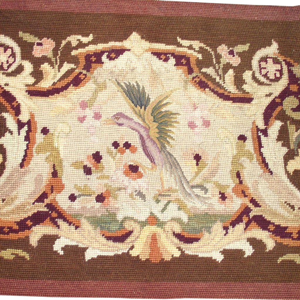 Vintage Needle and Petite Point with Bird in Flight  Olive Greens, Browns and Cream Completed