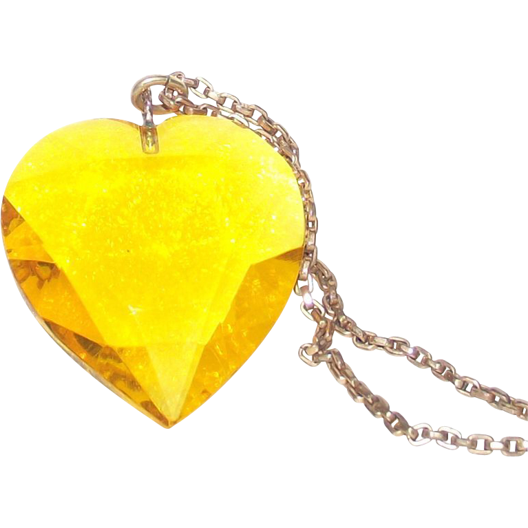 Vintage Heart Pendant Lemon Yellow Glass Very Large