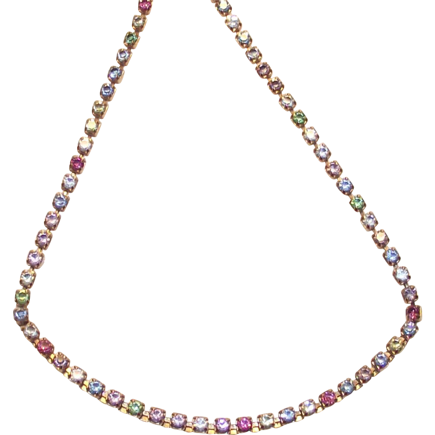 Vintage Rhinestone Line Necklace by Avon in Soft Pastel Colors