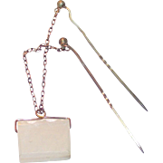 Vintage White Agate Book Fob Double Stick Pin