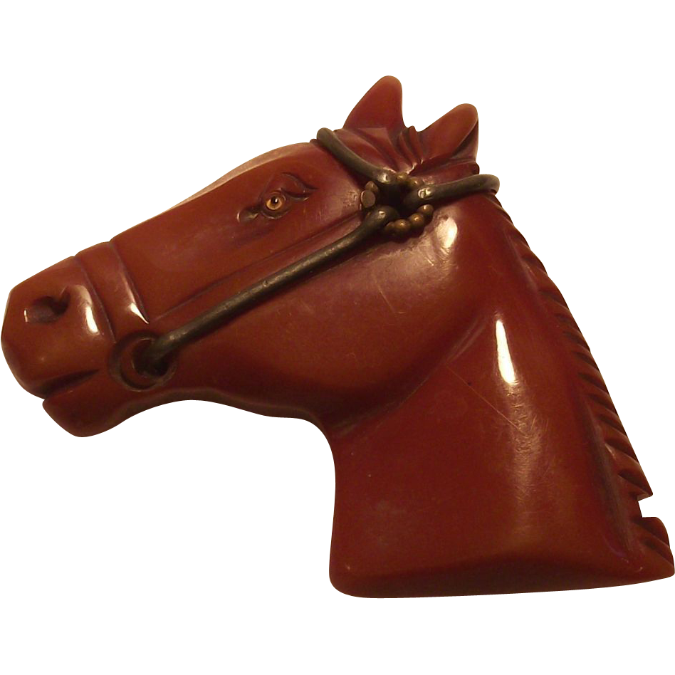 Vintage Bakelite Carved Horse Head Pin with Glass Eye Caramel or Toffee Color