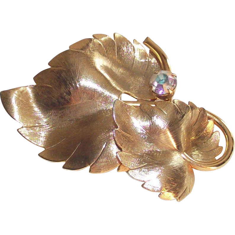 Vintage Gold Tone Aurora Borealis Stone Double Leaf Brooch