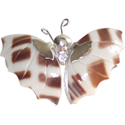Vintage Butterfly Brooch made from Sea Shells