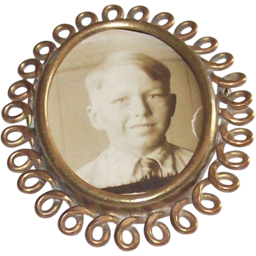 Vintage Mourning Portrait Brooch Circa 1900  Gold Tone
