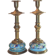 Vintage Longwy Candle Holders Two Piece Pair Tall