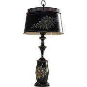 Vintage Black Toleware Table Lamp with Matching Shade