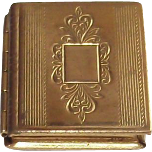Vintage Book Locket Machine Etched Top Circa 1950s