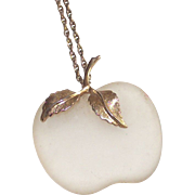 Vintage Avon Apple Pendant Necklace Frosted White Glass