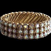 Vintage Expandable  Aurora Borealis Rhine Stone Bracelet Three Row
