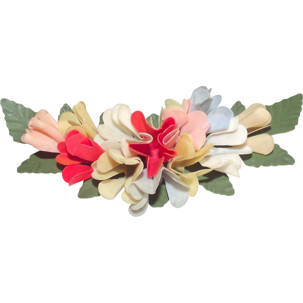 Vintage Art Deco Celluloid Floral Brooch Pinks Blues and Red