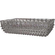 Victorian EAPG Hobnail Serving Bowl with Fluted Edge Clear Rectangular