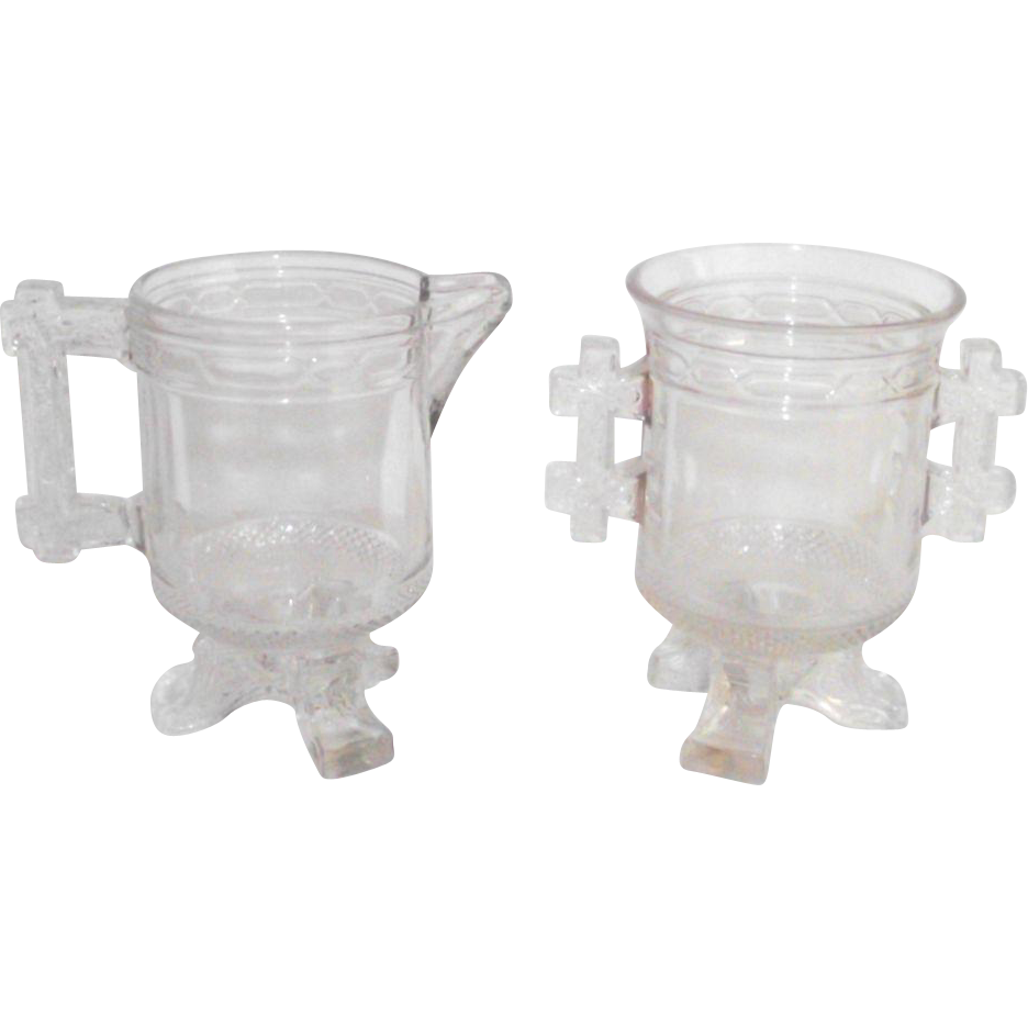 Antique Santa Claus EAPG Double Handle Sugar and Creamer 1880 Labelle Glass Co