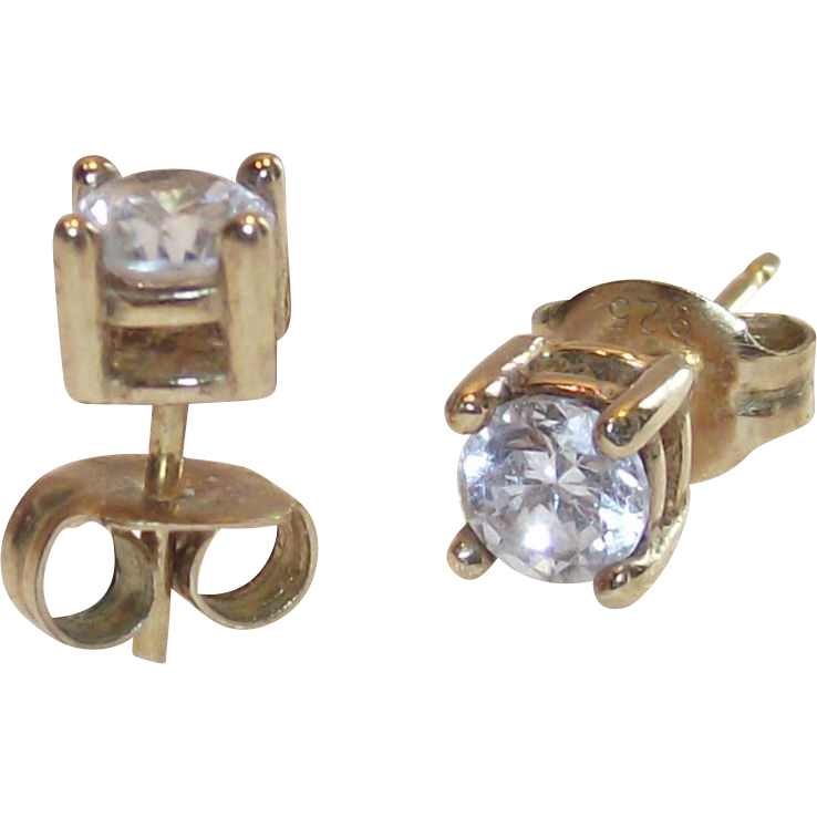 Vintage Gold Wash over Sterling 10 Point CZ Stud Earrings