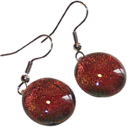 Vintage Color Change Foil Back Glass Domed Drop Earrings
