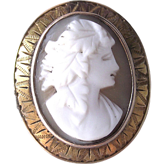 Vintage Carved Shell Cameo in Nicely Chased Gold Fill Frame Can be a Brooch or Pendant