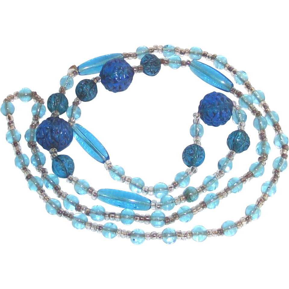 "Art Deco Era Flapper Beads Azure Blue Molded Czech Glass  27"" Long"
