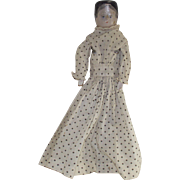 Victorian 1880s Wooden Doll in Hand Made Dress