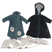 Vintage Six Piece Collection of Doll Clothing including Outer Wear Coats and Belt
