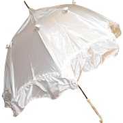 Vintage Doll Parasol Umbrella with Ornately Carved Bone Handle