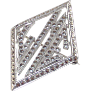 Vintage Art Deco Monogram Brooch set with Marcasite's