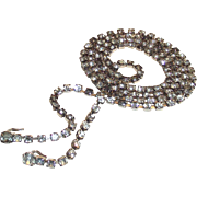 Vintage Rhinestone Trim Yardage Long Single Strand Clear & Charcoal Color  One Yard 36""
