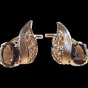 Vintage Smokey Quartz Earrings Pierced  Gold Tone