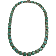 Vintage Sterling Silver Necklace with Turquoise Stones Made In Chile in the Art Deco Era