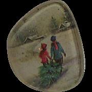 Vintage Christmas Brooch Eye Glass Lens Christmas Brooch