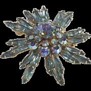 Vintage Rhinestone Brooch Aurora Borealis and Aqua Green Stones Floral Shape