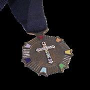 Vintage Masonic Rainbow Girls Cross of Color Medal with original Ribbon