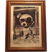 Vintage GIG Pitty Puppy Mid Century Framed Print
