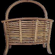 Vintage Bamboo Rattan Magazine Rack Mid Century